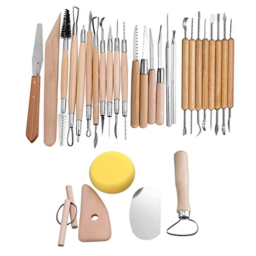 Agile-Shop 30 PCS Wood Handle Pottery Sculpting Clay Carving Modeling DIY Craft Tool - Ceramic Pottery Mold