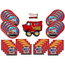 Fire Truck Firefighter Party Supplies Bundle Pack for 16 (14 Inch Balloon Plus Party Planning Checklist by Mikes Super Store)