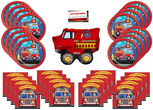 Fire Truck Firefighter Party Supplies Bundle Pack for 16 (14 Inch Balloon Plus Party Planning Checklist by Mikes Super Store) -