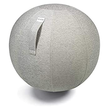 Image of VLUV STOV Premium Quality Self-Standing Sitting Ball with Handle - Home or Office Chair and Exercise Ball for Yoga, Back Stretching, or Gym- Upholstery Fabric Stability Ball Exercise Ball Accessories