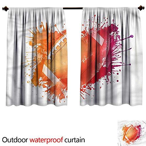 (BlountDecor UPF Outdoor curtainAnti-Water W55 x L45(140cm x 128cm) Sports,Rugby Ball Sport)