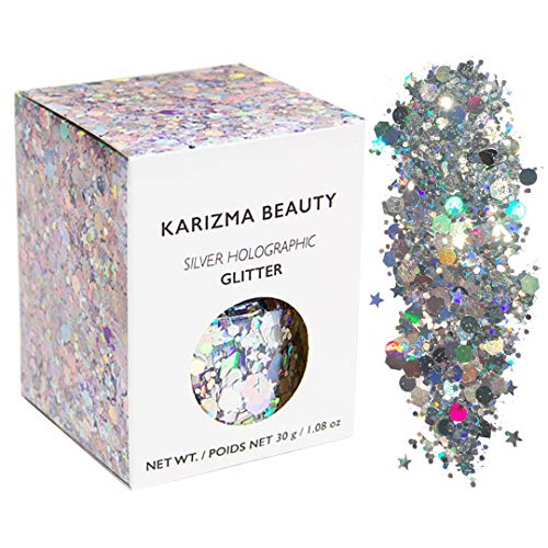 Silver Holographic Chunky Glitter ✮ Large 30g Jar KARIZMA BEAUTY ✮ Festival Glitter Cosmetic Face Body Hair Nails]()