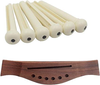 Puente de Madera con Clavijas de Cuerda para Partes de Guitarra ...