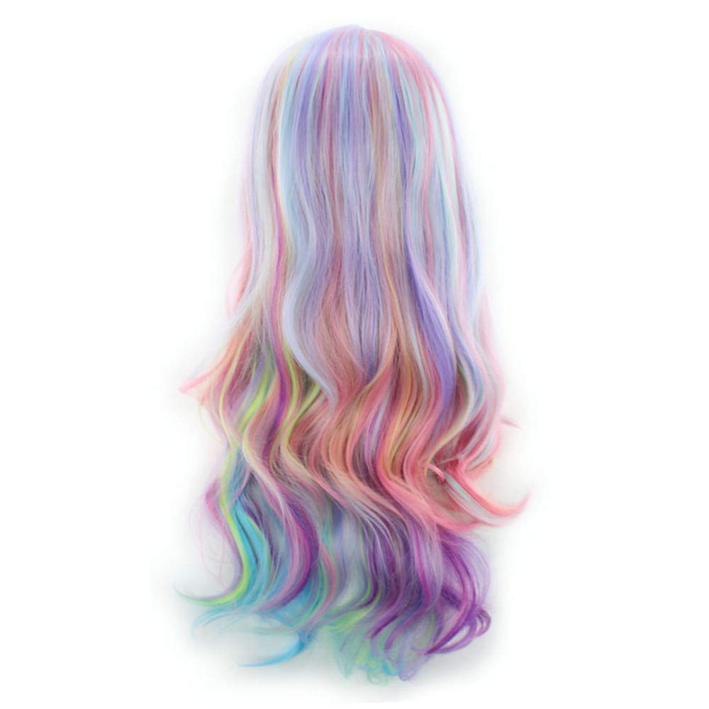 Long Curly Multi-Color Charming Long Air Bangs Wigs Cosplay Girls Party Daily (Multicolor)