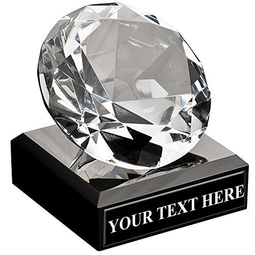 Corporate Glass Awards - Diamond Shaped Trophy Award On Black Crystal Base Prime
