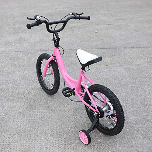 Kinderfietsen roze, 16 inch kinderfietsen jongens fietsen meisjesfietsen MTB fiets met terugtraining fietsen, ideaal als…