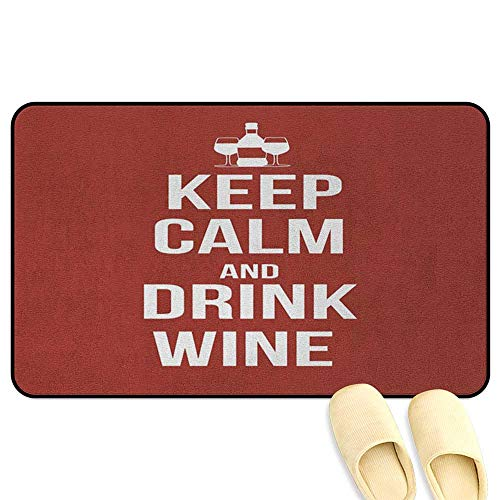 (Keep Calm Patio mat Wine Theme with a Bottle and Two Glasses Popular Slogan About Alcoholic Drink Ruby White Hard Floor Protection W16 x L24 INCH)