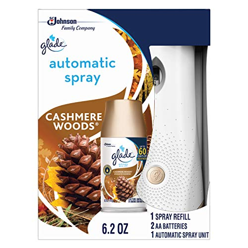Glade Automatic Spray Holder and Cashmere Woods Refill Starter Kit, Battery-Operated Holder for Automatic Spray Refill, Up to 60 Days of Freshness, 10.2 oz, 1 6.2 oz Refill (Packaging May Vary)
