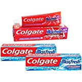 Colgate Icy Spicy Blast Maxfresh Toothpaste Combo Blue Gel - 150 g (Pack of 2) with Red Gel - 150 g