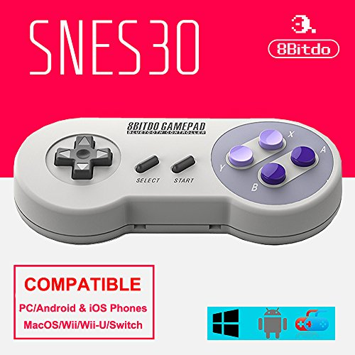8BTDO SNES30 Bluetooth Wireless Controller Dual Classic Video Game Joystick Gamepad For For Android/ iOS/ Windows/Mac OS/Wii/Wii U/Switch