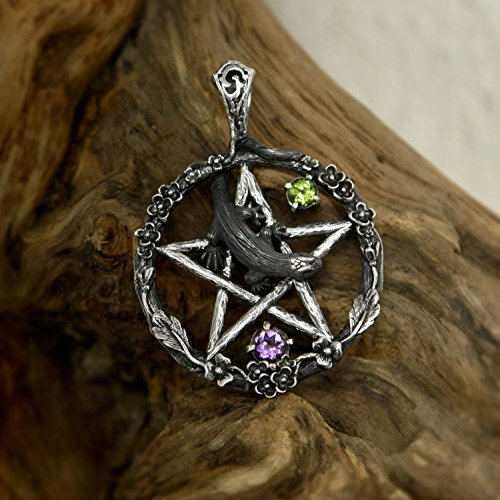Pentagram Pendant 925 Sterling Silver with Amethyst and Chrysolite