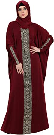 Gamal3Abaya Prayer Dress For Women, Maroon with Beige Pattern