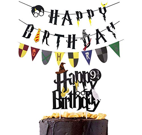 (Harry Potter Happy Birthday Banner Party Supplies Four colleges Banner Happy Birthday Cake Topper Felt Garland Party Decoration )