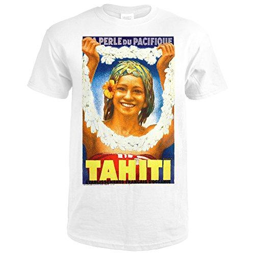 Tahiti Vintage Poster (artist: Duquene) France c. 1934 (Premium White T-Shirt XX-Large)