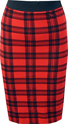 WearAll Women's Print Bodycon Midi Skirt - Red Check - US 8-10 (Check Print Skirt)