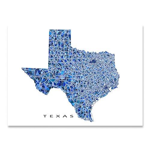 Texas Map Print, TX State Wall Art Decor, - Austin Tx Frames Glasses