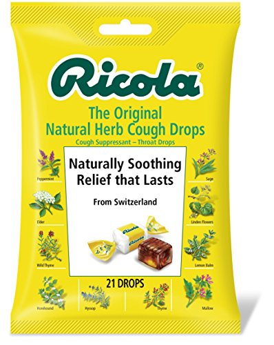 Ricola Original Swiss Herb Cough Suppressant Throat Drops, 21 Drops, Fights Coughs Naturally, Soothes Throats, Naturally Soothing Relief