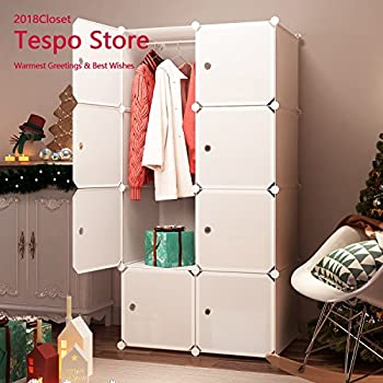 Tespo Portable Clothes Closet Wardrobe, Freestanding Bedroom Armoire  Storage Cabinet Organizer With Doors, White (8 Deeper Cube)