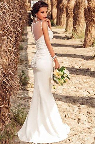 Vestido de noche o baile de encaje blanco, largo, ideal para novia, talla 36-38: Amazon.es: Deportes y aire libre