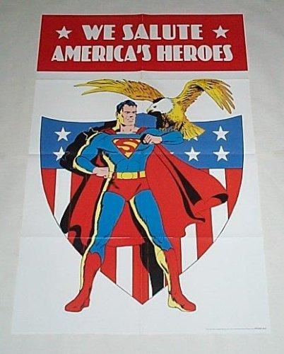 (Golden Age Superman American Bald Eagle Promo DC Comic Book Shop Dealer Window Display Promotional Poster: America's Heroes )