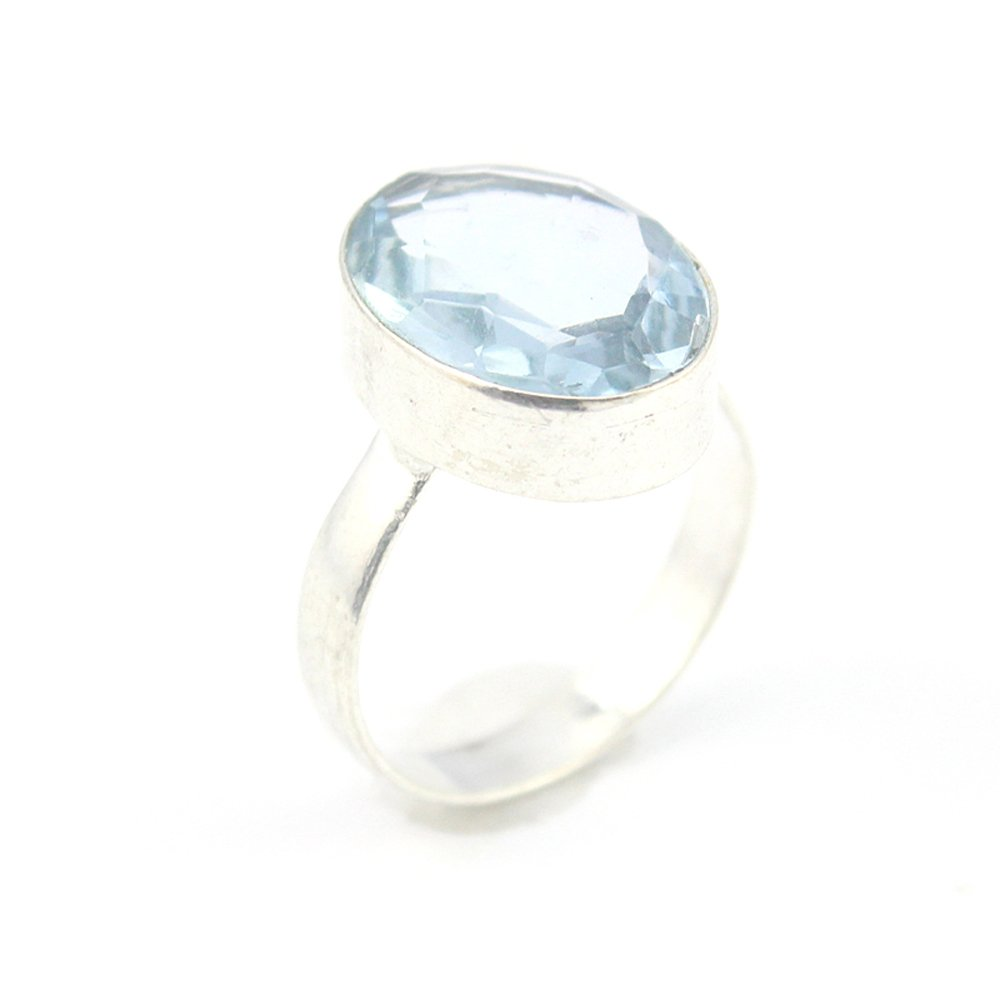 HIGH FINISH BLUE QUARTZ FASHION JEWELRY .925 SILVER PLATED RING 9 S24004