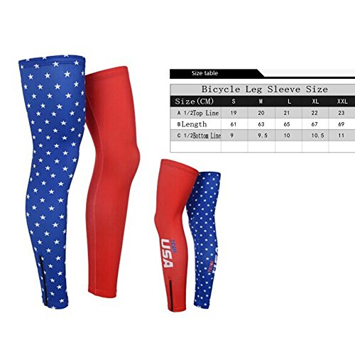 Panda Superstore Cycling Compression Leg Sleeves Cool Summer Leg Pro Leg Sleeves, XL, USA Flag by Panda Superstore (Image #1)