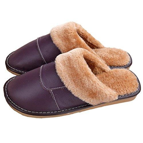 Samsay Unisex Äkta Läder Hus Tofflor Varma Mjuka Plysch Fleecefodrad Sandaler Skor Violett