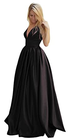 GMAR Womens A Line Satin Prom Dresses V Neck Open Back Long Evening Gowns