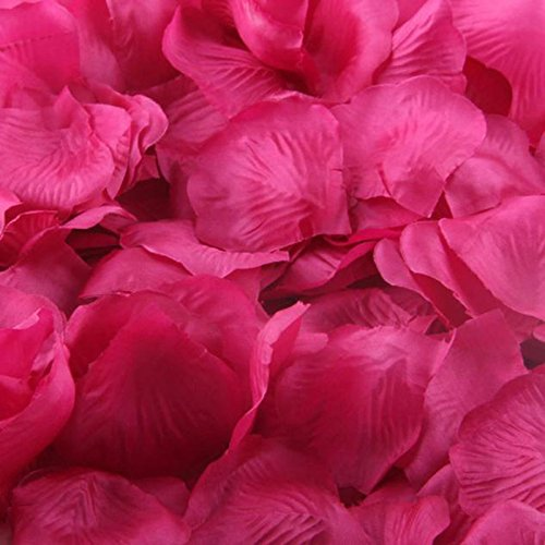 (Sunward 2000 Pcs Dark Red Silk Rose Petals Artificial Flowers Decorations, Wedding Party Vase Home Decor Bridal Petals Rose Flower Favors Decoration (Hot Pink))