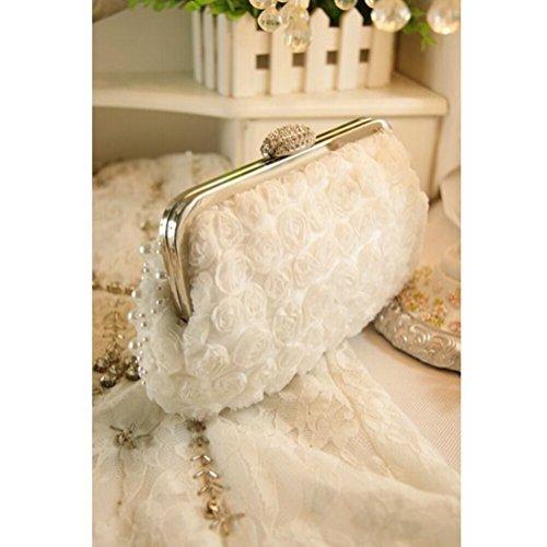 UK_Stone Handgemacht Luxus Damen Weiss Blumen Perlen Beaded Clutch Handtasche Party Abendtasche