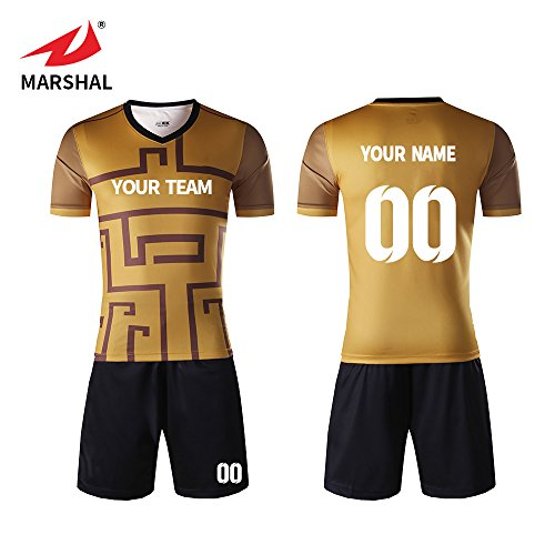 Custom Football Team Jerseys - Marshal Jersey Custom Gold Jersey Soccer Uniforms Custom Team Sportwear Numbers, Your Name (2XL)