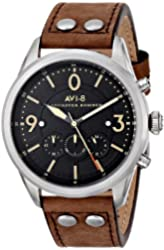 AVI-8 Men's AV-4024-01 Lancaster Bomber Stainless Steel Watch with Leather Band