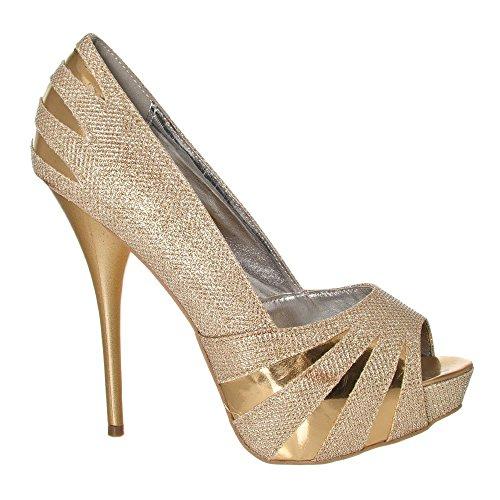 talon Toe à Doré Plateforme Peep dissimulée Cour Chaussures pailleté wXpnfx