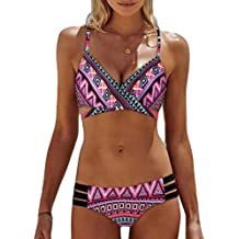 Wensltd Clearance! Womens Two Piece Triangle Bikini Set Cut Out Printing Bathing Suit Swimsuit With Underwire (XL, Pink-1)