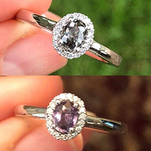 Natural Certified Alexandrite Diamond Ring 0.37 cttw Color Change From Green Blue to Purple Red Certified 14K White Gold Size 7