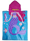 Age 2-7 Years Girls Beach Towel, of 100% Long-Staple Cotton, Large Size 27.5''X24'' with 11''(W) x12(H) Hood, Use for Swim/Pool/Bath Hooded Poncho Towels, Mermaid Theme, by Athaelay
