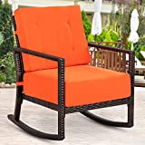 TANGKULA Rattan Rocker Chair Outdoor Patio Rattan Wicker Cushion Rocking Armchair Chair Furniture W/Cushion (Orange)