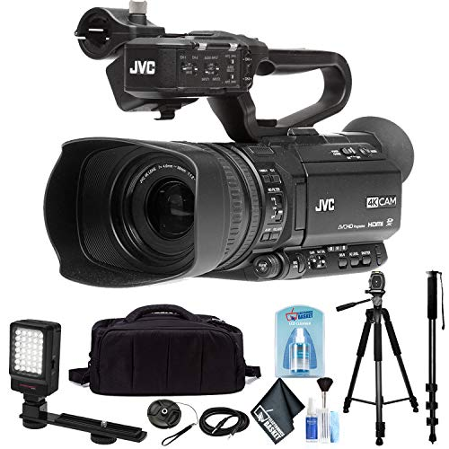 JVC GY-HM250 UHD 4K Streaming Camcorder with Built-in Lower-Thirds Graphics Base Combo