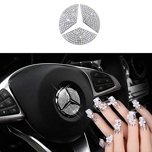 (Sparkle-um Steering Wheel Unique Bling Crystal Badge Emblem Overlay Decal Decoration Cover Sticker Trim for Mercedes-Benz A, B,C, E, S, CLA, GLA, GL, ML, GLE, GLC,GLK Class.(49mm))