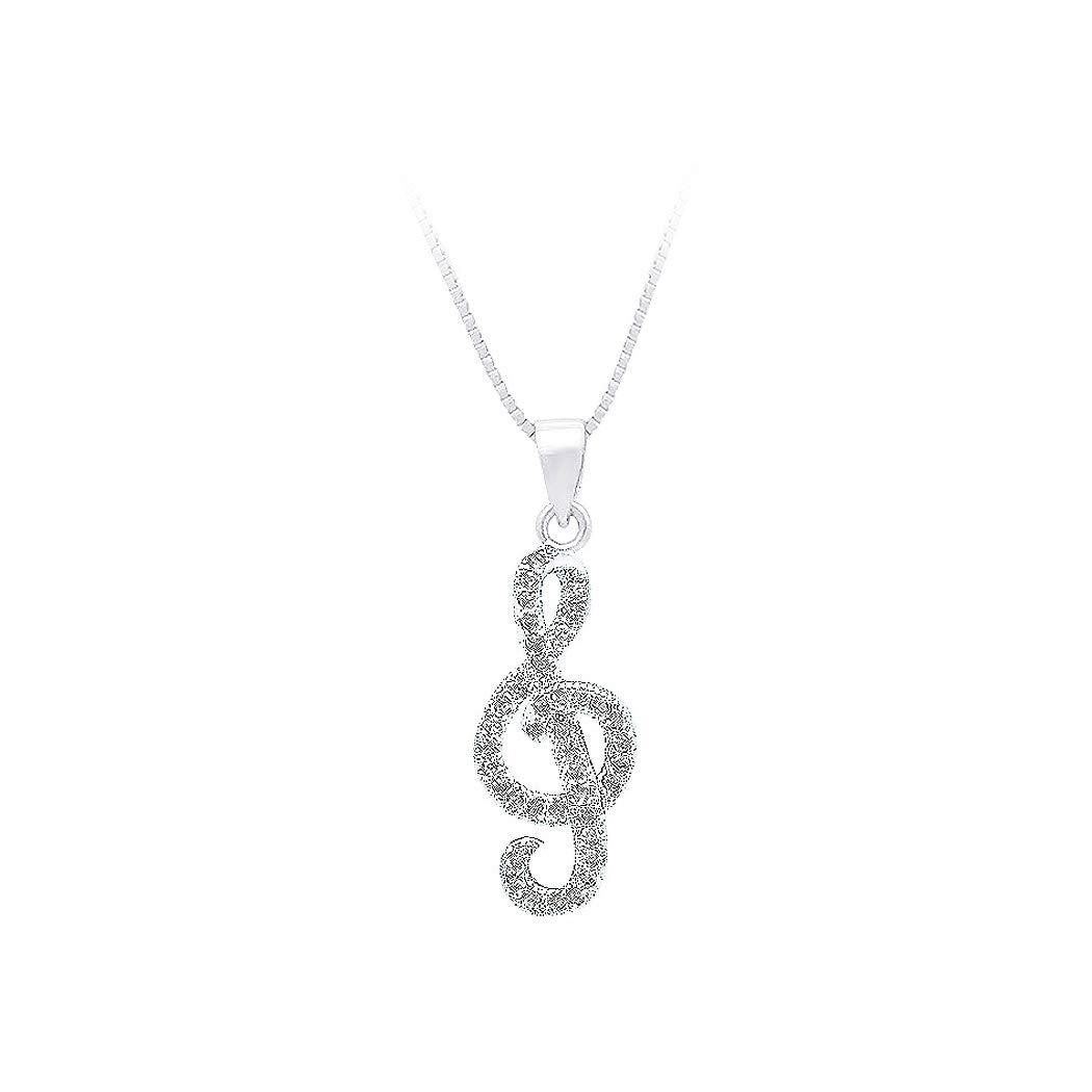 Glamorousky 925 Sterling Silver Note Pendant with White Cubic Zircon and Necklace 13536