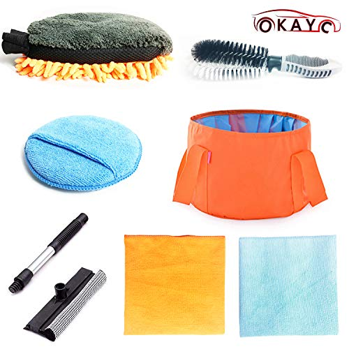 OKAYC 7 pcs Car Cleaning Tools Kit with Folding Bucket Car Tire Brush Wash Mitt Sponge Wax Applicator Microfiber Cloths Window Water Blade Brush