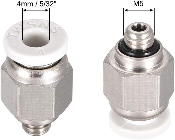 sourcing map Recto Neum/ático Empuje para Conectar R/ápidamente Accesorios M5 Macho x 4 mm Tubo OD Plata Tono Blanco 2uds