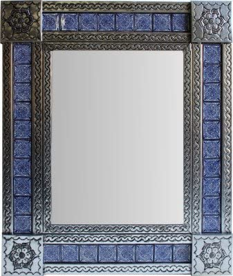 Fine Crafts Imports Medium Silver Target Tile Mexican Mirror