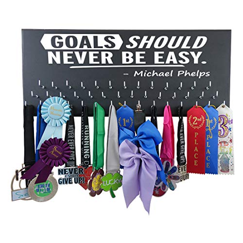 RunningontheWall Swimming Medal Hanger, Swimming Gifts for Men Goals Should Never BE Easy -Michael Phelps Swimmer Medal Display, Swimming Ribbon Display Rack
