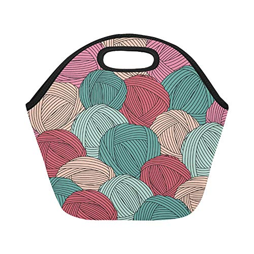 (Insulated Neoprene Lunch Bag Yarn Ball Love Warm Color Creative Large Size Reusable Thermal Thick Lunch Tote Bags For Lunch Boxes For Outdoors,work, Office, School)