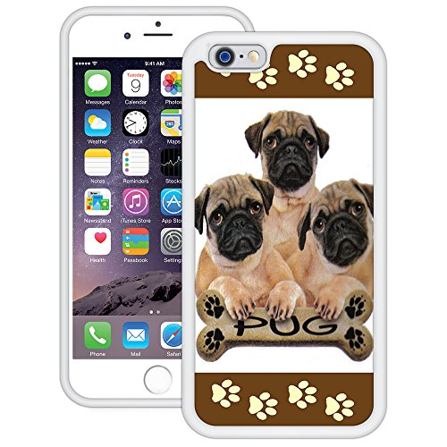 Möpse | Handgefertigt | iPhone 6 6s (4,7') | Weiß TPU Hülle
