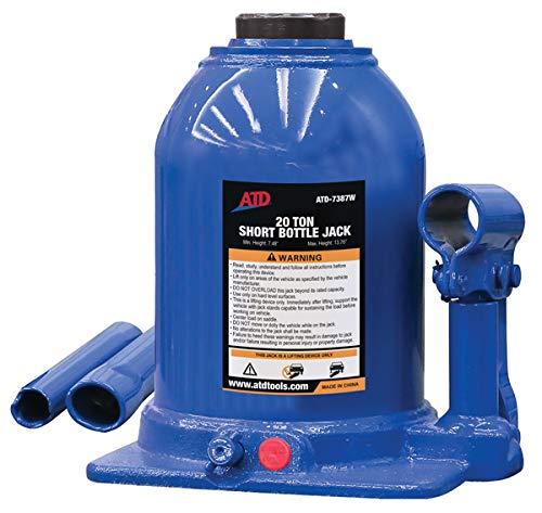20 Ton Side Pump Bottle - ATD Tools 7387W 20 Ton Heavy-Duty Hydraulic Side Pump Bottle Jack (Shorty Version)