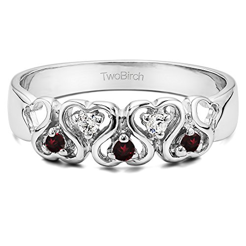 .125CT Diamonds and Ruby Heart Ring in 14k White Gold(Size 3 to 15, in 1/4 Sizes) (0.125 Ct Heart)