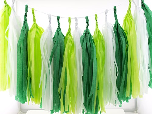 St Patrick's Day Tissue Paper Garland, Shamrock Green Streamers (Set of 15) - St Patricks Day Party Supplies, Irish Luck Green Decorations for Party, St Patricks Day Leprechaun Bunting Banner ()
