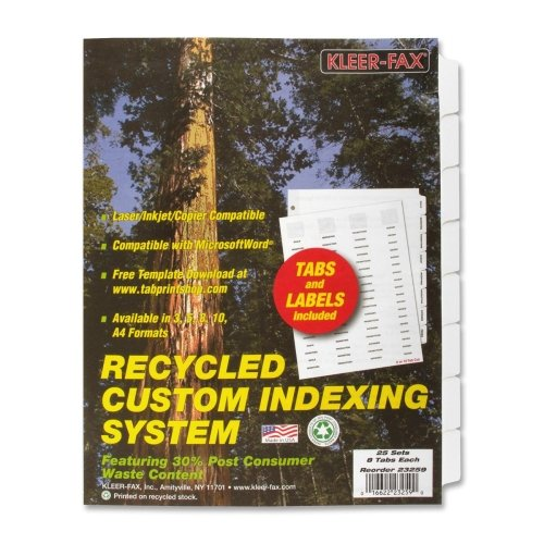 Wholesale CASE of 5 - Kleer-Fax Custom Unpunched Laser Indexing System-Index Dividers,Laser/Inkjet,Unpunched,8-Tab,25 Sets/PK,White